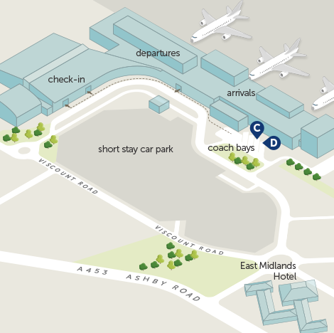 East Midlands Airport Map Airport map   kinchbus