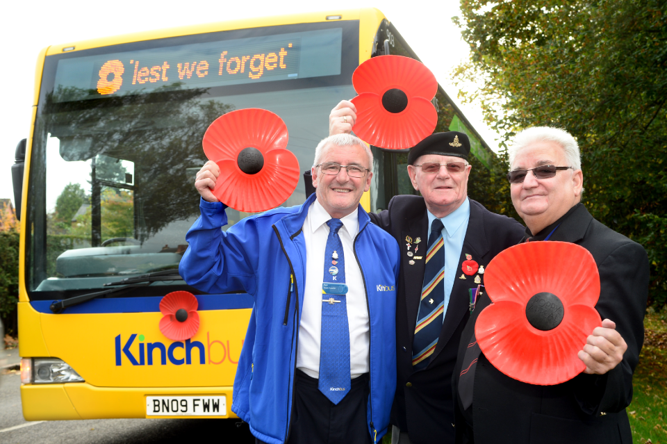 Kinchbus' skylink & Kinchbus 9 buses will proudly wear the poppy